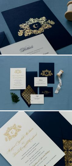 "Rich, regal, traditional and timeless, Maggie is a metallic foil wedding invitation suite. Featuring a 6"" x 8.25"" invitation, the two-ply thickness and foil pressed ink create a classic, formal feel. The v top flap envelope is patterned with a gold, silver or copper foil lining that will leave your guests in awe upon opening and never go out of style."