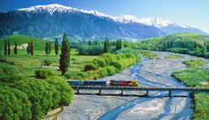 TranzAlpine      Nova Zelândia A TranzAlpine faz o trajeto de Christchurch a Greymouth, de leste a oeste da Ilha Sul da Nova Zelândia, passando por campos, rios, montanhas e florestas, mostrando a bela natureza do país.