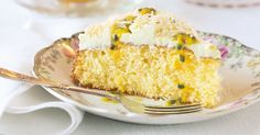 Make sure your guests save space for this crumbly and moist cake, smothered in a smooth and tangy passionfruit icing.