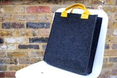 Stylish  gray pressed wool office laptop bag for up to 15.6 inch