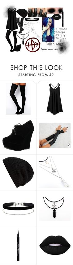"""""""outfit #27 (eyeless)"""" by eyeless-angel-of-death ❤ liked on Polyvore featuring ASOS, Boohoo, Forever Link, Rick Owens, NYX, Miss Selfridge, Givenchy and Lime Crime"""