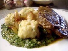 Pečené hovězí maso se smetanovým špenátem