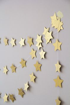 Paper garland, star garland, wedding garland, holidays decor, nursery garland, holidays garland, nursery decor, garland for home gold