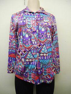 Vtg Ladies 70s Multicolor Building Print Long Sleeve Shirt sz: L (# 13918) #vintage #blouse #ebay