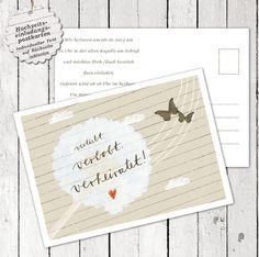 """100 Einladungskarte """"verliebt verlobt verheiratet"""""""