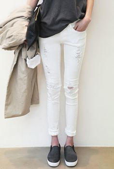 Grey Sleeveless Tank, Ripped White Skinny Jeans, Dark Grey Slip-ons, Classic Trench Coat // cool