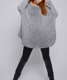 OVERSIZED Woman sweater/ Knit sweater in light grey by MaxMelody
