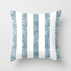 Maritime Navy Beach Pattern- Blue and White Stripes- Vertical - Throw Pillow