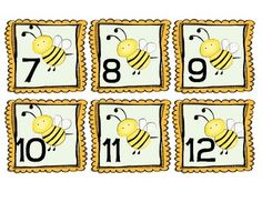 Numbers and and for a bee themed calendar. New Classroom, Classroom Design, Classroom Themes, Class Decoration, School Decorations, Preschool Printables, Preschool Activities, Mickey Mouse Toys, Bee Book