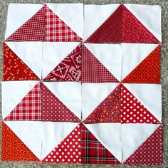 .HST .. Another of my projects seen at random on Pinterest. I still haven't finished  this red and white HST quilt. The triangles were due cut using Sizzix quilting dies.