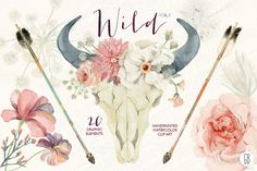 Check out Watercolor skull wild boho Vol.1 by GrafikBoutique on Creative Market