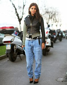 Christine Centera in Milan. Love the boyfriend jeans and tailored jacket!