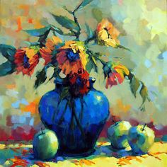 Sunflowers in Blue Vase by Trisha Adams Oil ~ 30 x 30 Painting Still Life, Still Life Art, Paintings I Love, Painting & Drawing, Watercolor Paintings, Dynamic Painting, Art Aquarelle, Painting Competition, Sunflower Art