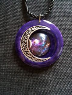 Celestial Galaxy and Moon in Purple Pearl Resin + Free Shipping Worldwide, celestial galaxy, galaxy jewelry, galaxy pendant by OurArtyCreations on Etsy