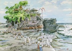 Chin Chun Wah: Melati at Tanah Lot - Bali, 2013, Water Colour, 53 x 73cm. Represented by Ode To Art.This series of paintings is a result of a trip to Bali with oil painter Siew Hock Meng after reentering the arts scene at the age of 72. Famous for his sketches in pen and wash, this is a painting technique which uses markers and watercolours to depict scenes with quick and light brushstrokes.