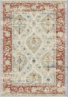 Dynamic Rugs Essence Ivory/Red Distressed Rectangle Area Rug