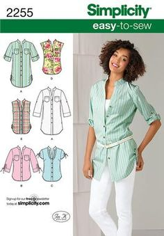 Simplicity pattern 2255: Misses' Easy to Sew Tunic or Shirt. - View A/B for Anna's top