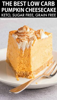 Low Carb Sweets, Low Carb Desserts, Just Desserts, Low Carb Recipes, Dessert Recipes, Recipes Dinner, Low Carb Pumpkin Cheesecake, Keto Cheesecake, Low Calorie Cheesecake