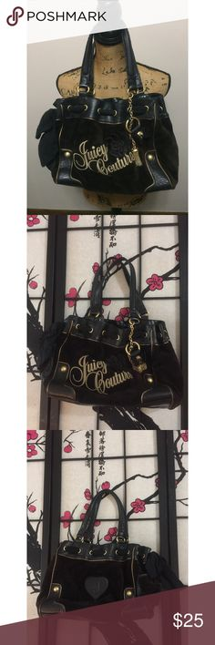 Juicy Couture Black Velour Purse Measures 16in across and 11in from top to bottom. This purse does have wear. Has a discoloration or stain on the front. Bow on the side has some piling and straps have some cracking All as shown. Still has plenty of uses left and in good condition otherwise. Offers welcome. 🎀❤️💕 Juicy Couture Bags Shoulder Bags