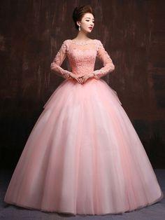 Modest Blush Pink Long Sleeves Quinceanera Ball Gown Prom Dress Home Coming Dress Sweet Sixteen Dress X023