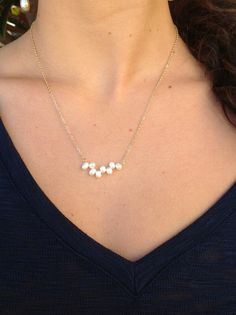 $20 Gold chain with horizontal fresh water pearl necklace