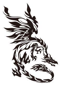 DeviantArt - Famous Last Words Tribal Dragon Tattoos, Small Dragon Tattoos, Dragon Tattoo Designs, Tribal Tattoo Designs, Celtic Tribal Tattoos, Tribal Drawings, Geometric Tattoos, Brush Tattoo, Tattoo Diy