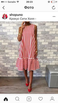 Commuting High-Waist Pleated Halflong Sleeve Casual Dress Crew Neck Red Women Summer Dress A-line Daily Basic Paneled Dress Simple Dresses, Cute Dresses, Short Dresses, Summer Dresses For Women, Mode Inspiration, African Fashion, Korean Fashion, Striped Dress, Dress Skirt