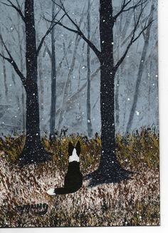 Border Collie dog Winter LARGE Art PRINT by Todd by ToddYoungArt