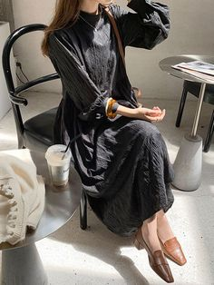 Maxi Dresses are always look pretty High Collar Casual Buttons Floor Length Dress #maxidress #casualwear #buttons #length #dress #women #style #fashion