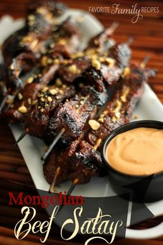 Mongolian Beef Satay with a Spicy Dipping Sauce.  My husband devoured this!   Find all our yummy pins at https://www.pinterest.com/favfamilyrecipz/