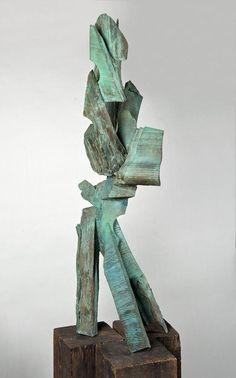 "Mel Kendrick (b. 1949, American), bronze sculpture, ""Cedar X"", bronze with green patina, apparently unsigned, on custom base, 54""h x 21""w x 18""d (bronze only)"