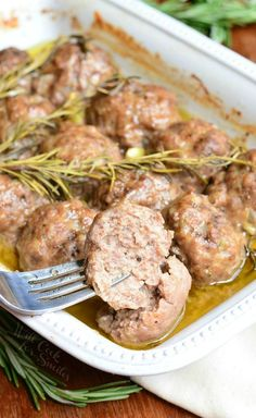 Roasted Garlic Rosemary Baked Meatballs 5 from willcookforsmiles.com Baked Meatball Recipe, Meatball Bake, Meatball Recipes, Veal Recipes, Chicken Recipes, Roasted Garlic, Pork Dishes, Sausages In The Oven, Frozen Salmon