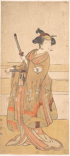 Onoe Tamizo as a Samurai Woman  Katsukawa Shunshô  (Japanese, 1726–1792)  Period: Edo period (1615–1868) Date: ca. 1775 or 1776 Culture: Japan Medium: Polychrome woodblock print; ink and color on paper