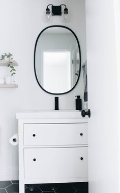 Our Master Bathroom Fixer Upper | Simply Well Spent - Ikea Hemnes Vanity in White and Odensvik Sink