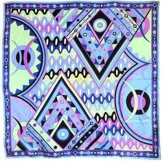 "Pre-owned Vintage EMILIO PUCCI 1970's Vivara wavy geo silk scarf 35"" (34.065 RUB) ❤ liked on Polyvore featuring accessories, scarves, emilio pucci scarves, vintage scarves, emilio pucci, silk shawl and pure silk scarves"