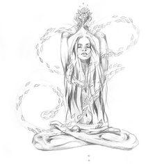 Amazing artwork by . Yoga Kunst, Aquarell Tattoos, Illustration, Soul Art, Cool Artwork, Amazing Artwork, Art Inspo, Art Drawings, Art Photography