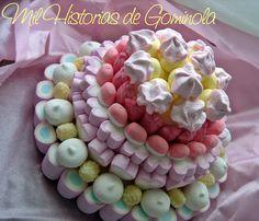 Tartas chuches, gominolas, bodas, comuniones, rosa y amarillo