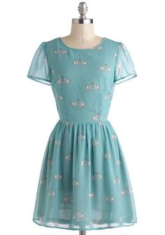 To Have and To Herd Dress by Sugarhill Boutique - International Designer, Blue, White, Print with Animals, Cutout, Casual, A-line, Short Sleeves, Scoop, Pastel, Short