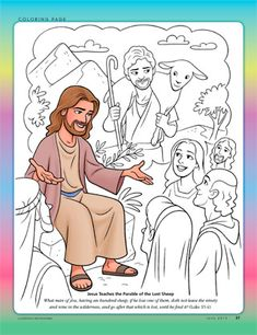 'The Shepherd and the Lost Sheep' coloring picture - from The Friend, June 2013 Bible Story Crafts, Bible Stories For Kids, Lds Primary Lessons, Bible Lessons, Sunday School Lessons, Sunday School Crafts, Youth Bible Study, Sunday School Coloring Pages, Jesus Teachings