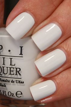 My Boyfriend Scales Walls, OPI. Gosh, I love white nail polish! Get Nails, Love Nails, How To Do Nails, Pretty Nails, Hair And Nails, Clean Nails, Nail Art Vernis, Opi Nail Polish, Nail Polish Colors