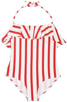 1325bca7fc814 Milly MILLY MINIS RUFFLE TOP ONE PIECE Milly Minis, Baby Swimsuit, Red And  White