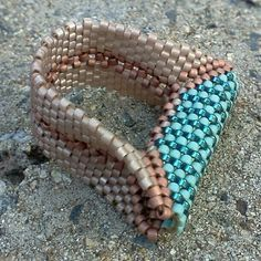 My new ring design creation. MRAW (modified right angle weave), peyote and herringbone weave with size 11° Delica beads.