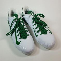 1ab00e22583c Nike Mens Metal Cleats BSBL Vapor Lunarlon Flywire Size 10.5 White Green   Nike  cleats