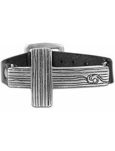 Christian Faith GEAR sideways Textured Metal CROSS Bracelet Black Leather
