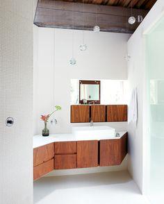 White + wood vanity