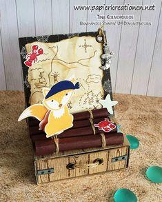 Stampin up foxy friends als Pirat mit Schatzkammer für einen  Kinder-Geburtstag
