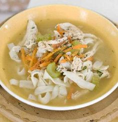 Chicken and shirataki noodle soup is a healthy treat.