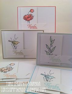 "Can't Stamp the Rain; Beautiful card set made from the exclusive Stampin' Up! Hostess Stamp Set ""Simply Sketched"""