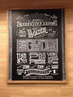 The four fundamentals of brewing Starbucks coffee. Pic taken by Knetemann Kwan Coffee Company, Coffee Shop, Break Room, Chalkboard Art, Chalk Board, Starbucks Coffee, Coffee Break, Art Boards, Brewing