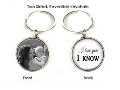 I love you I know Keychain, Mother Daughter Son 2 Sided Photo Keychain